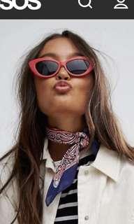 ASOS red cat eye sunglasses