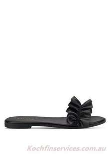 Zalora Ruffle Sliders, Black , 36