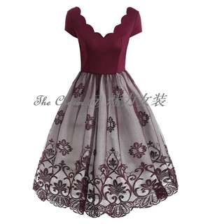 4004 Short Sleeve Lace Vintage Petal Collar Dress (Wine Red, Size: S to 4XL, Pre-order)
