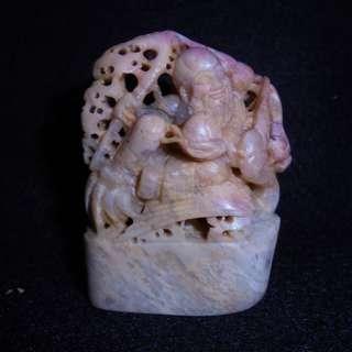 巴林石雕壽翁隨形印章擺件 03