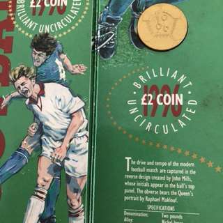 1996 euro cup uncirculated 2 pound coin
