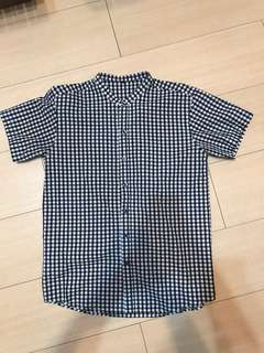平領黑白格紋襯衫