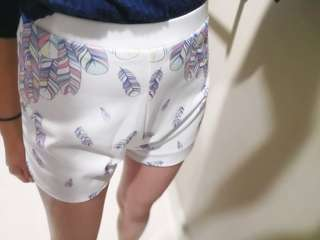 High Waisted Feather Shorts Back Zip