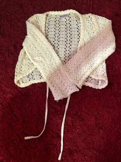 Cropped Cardigan with Eyelets
