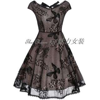 4031 Vintage Cutout Lace Fit and Flare Dress (Size: S to 4XL, Pre-order)