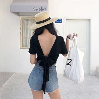 Preorder sexy backless bowknot  short sleeve top
