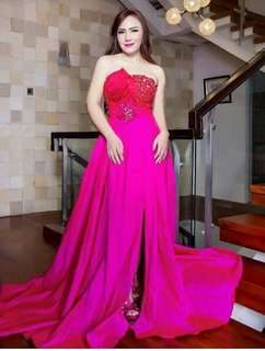 Shocking pink and Red Gown