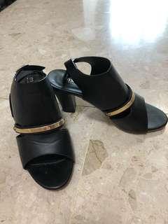 Black and Gold Platform Sandals in size 37