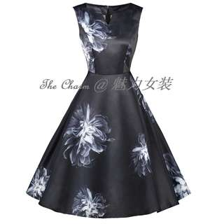 71233 Black and White Large Flower Vintage Collar Dress (Size: S to 4XL, Pre-order)