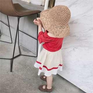 🚚 韓版 春夏新款 女童上衣+短裙兩件式套裝