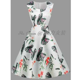 71238 Vintage Sleeveless Flower Leaf Print Dress (Size: S to 4XL, Pre-order)