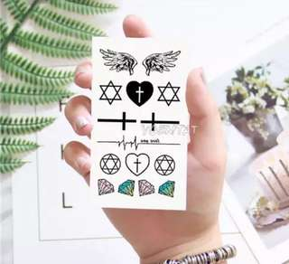 🌸 minimalistic Cross Faith Love Diamond Wings Temporary Tattoo