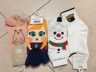 Set of 4 cute cartoon socks (brand new)