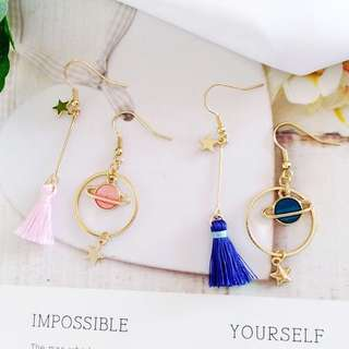 💧 Asymmetrical star and planet mars tassel dangling earrings and clip ons