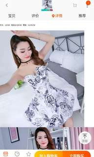 Off shoulder floral black White dress