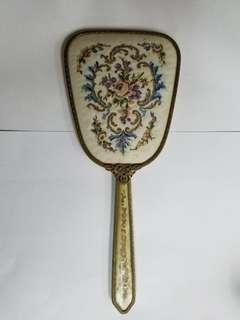 歐洲古董收藏 十字繡 古董鏡