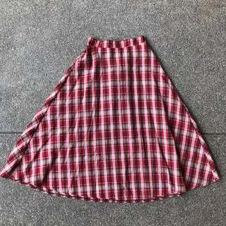 A-line midi plaid skirt