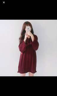 Maroon Knitted top/Dress