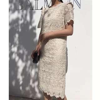 From Korea Elegant Short Sleeve Scallop Collar Lace Dress