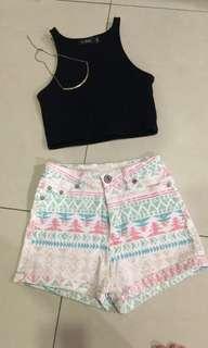 Tribal prints high waisted shorts