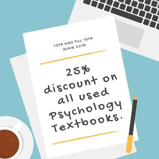 25% Discount for all Psychology Textbooks - From 13th May to 13th June 2018