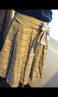 🚚 Xing 優雅灰色綴布腰帶裙 尺寸S