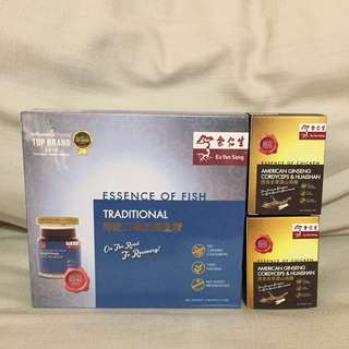 All For $10 - BN sealed Eu Yan Sang Traditional Essence of fish 6 bottles. Expire August 2018 And 2 sealed bottles of Essence of chicken American Ginseng cordyceps & Huaishan. Expire June 2019