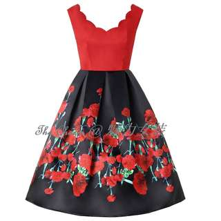 80113 Petal V-Neck Flower Branch Holiday Dress (Size: S to 4XL, Pre-order)