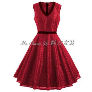 80118 Lace trim hollow waist lace dress (Red, Size: S to 4XL, Pre-order)