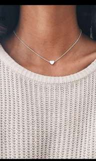 Necklace with love heart pendant silver & gold