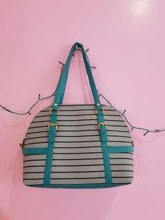 Stripe Green leather bag