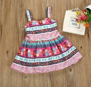 12M-5T Bowknot floral printed dress