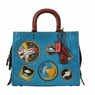 Coach Rogue Tote Bag With Space Patches Blue Woman