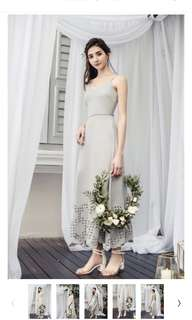 The Thread Theory Kissing Petals Embroidered Dress in Grey