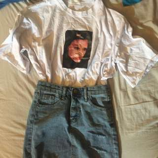 High waisted denim skirt and oversized tshirt (SOLD)