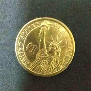 美國自由神像1元金色硬幣