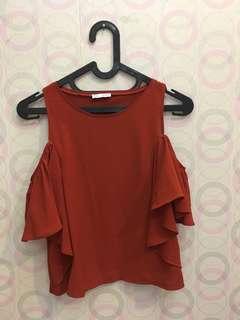 Zara brick red cold shoulder