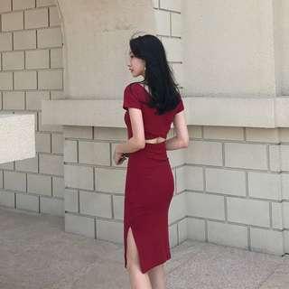 [PRE-ORDER] Women Sexy Cross Back Long Split Skirt Slim Dress