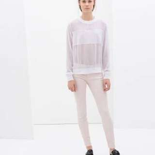 Zara Woman blush baby pink leather-feel pants