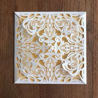 Laser cut luxury lace invites (pearl & gold)