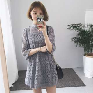 [PRE-ORDER] Women 2in1 Spaghetti Strap Overlay Loose Waist Crop Sleeve Lace Mini Dress [Grey/White/Black]