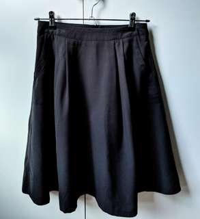 Formal Black Midi Skirt