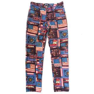 90s Versace Jeans Couture Printed Flag Jeans
