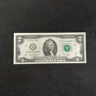 美元纸幣二元全新直版