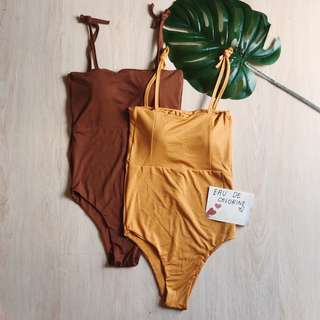 Aurora Brown Yellow Mustard One Piece Swimsuit