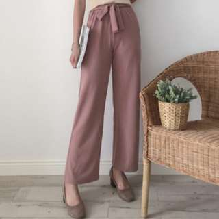 [PRE-ORDER] Women Plain Colored Tie Waist Casual Long Pants [Pink/Black]