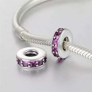 Code SS771 - Royal Purple Spacer 100% 925 Sterling Silver Charm, Chain Is Not Included, Compatible With Pandora, ss spacer