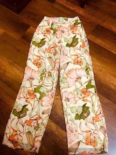 Floral Pants In Cream-Size M
