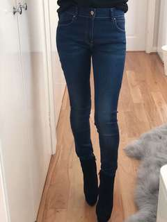 "New 24"" Zara Trafaluc Washed Navy Blue Skinny Jeans size 6"