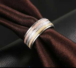 Luxury Brand Inspired Tri-color Stainless Steel Ring